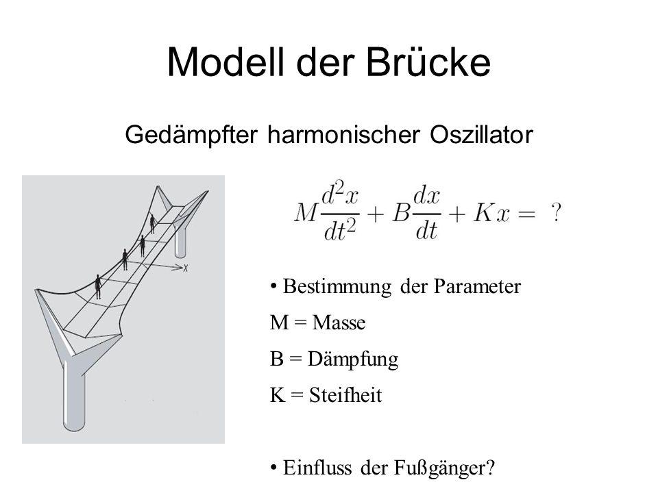 Modell der Brücke Gedämpfter harmonischer Oszillator Bestimmung der Parameter M = Masse B = Dämpfung K = Steifheit Einfluss der Fußgänger