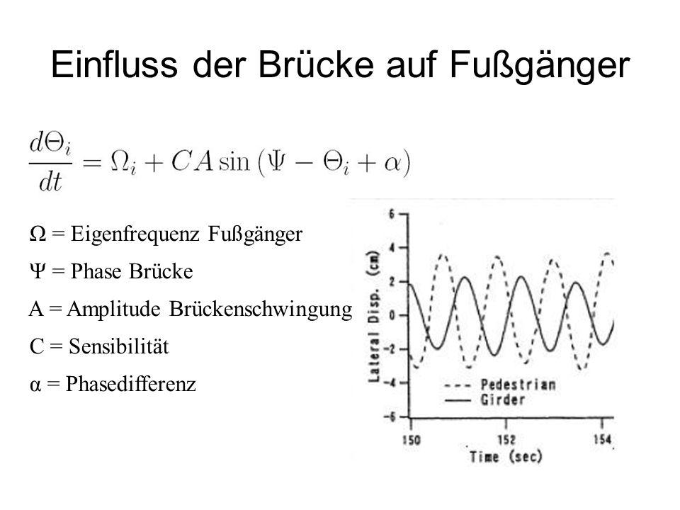 Einfluss der Brücke auf Fußgänger Ω = Eigenfrequenz Fußgänger Ψ = Phase Brücke A = Amplitude Brückenschwingung C = Sensibilität α = Phasedifferenz