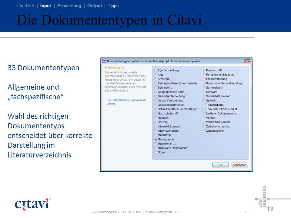 Überblick | Input | Processing | Output | Tipps IGA-Workshop am 26.3.2010 / Drs. Sühl und Reifegerste / UB13 Die Dokumententypen in Citavi 13 35 Dokum