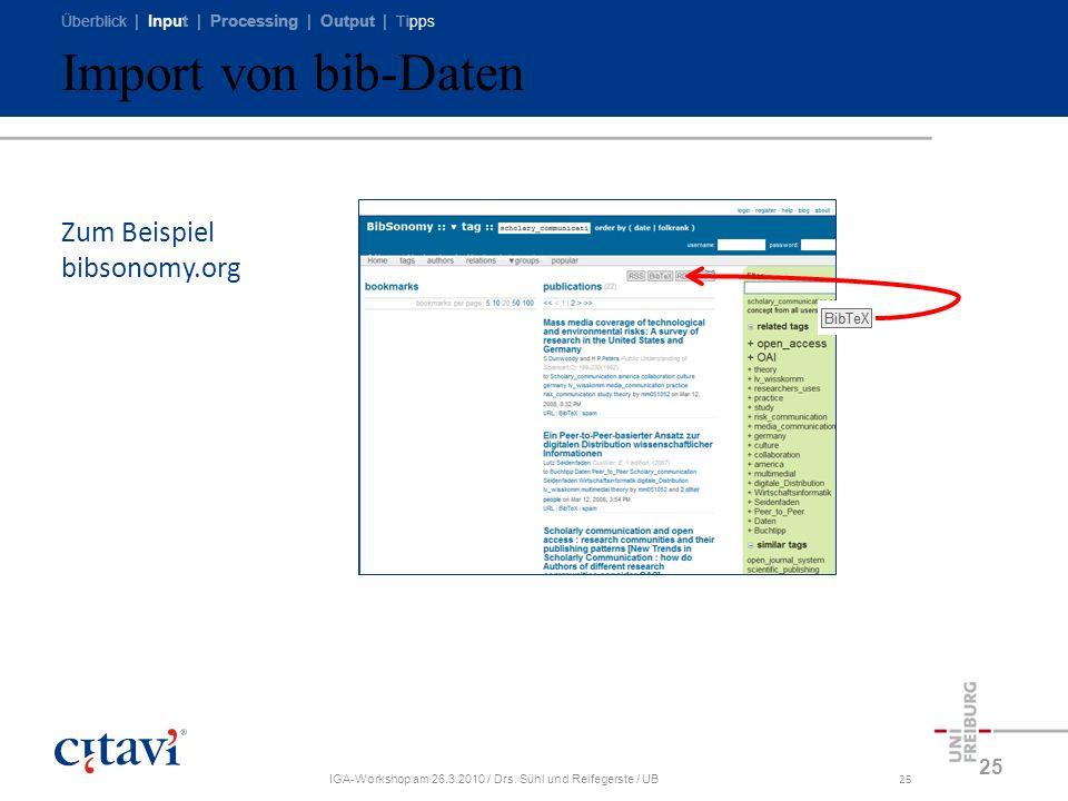 Überblick | Input | Processing | Output | Tipps IGA-Workshop am 26.3.2010 / Drs. Sühl und Reifegerste / UB25 Import von bib-Daten 25 Zum Beispiel bibs