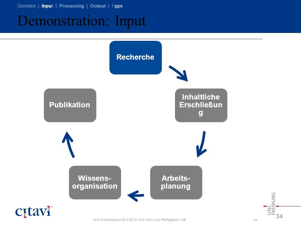 Überblick | Input | Processing | Output | Tipps IGA-Workshop am 26.3.2010 / Drs. Sühl und Reifegerste / UB34 Demonstration: Input 34 Recherche Inhaltl