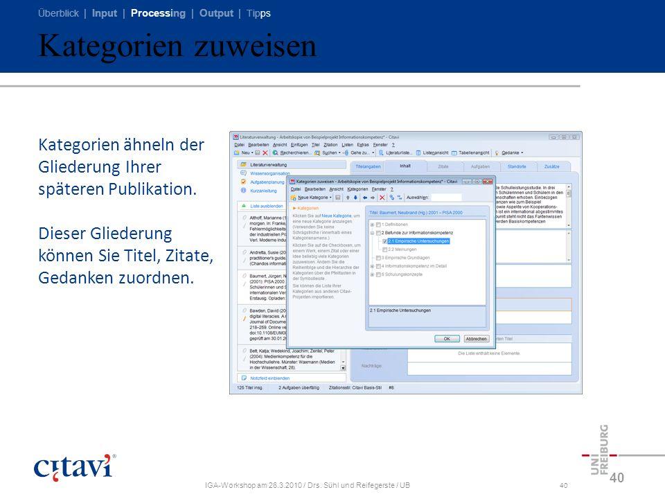 Überblick | Input | Processing | Output | Tipps IGA-Workshop am 26.3.2010 / Drs. Sühl und Reifegerste / UB40 Kategorien zuweisen 40 Kategorien ähneln