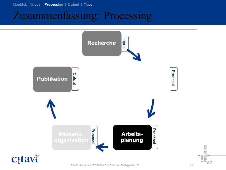 Überblick | Input | Processing | Output | Tipps IGA-Workshop am 26.3.2010 / Drs. Sühl und Reifegerste / UB57 Zusammenfassung: Processing 57 Processi n