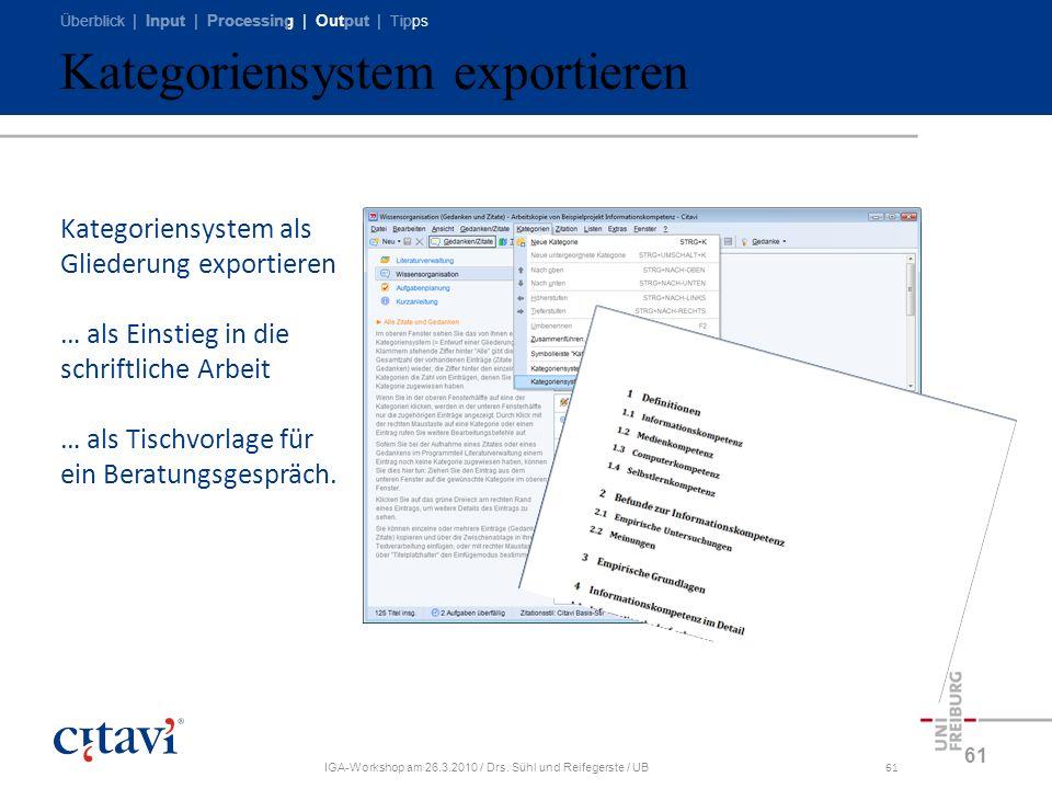 Überblick | Input | Processing | Output | Tipps IGA-Workshop am 26.3.2010 / Drs. Sühl und Reifegerste / UB61 Kategoriensystem exportieren 61 Kategorie