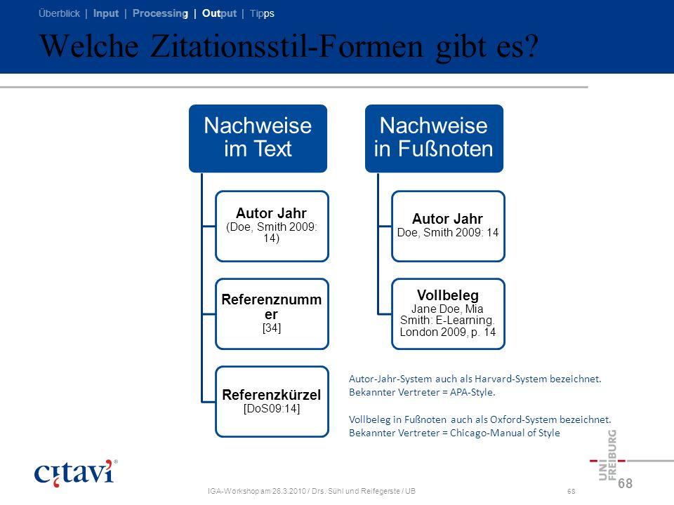 Überblick | Input | Processing | Output | Tipps IGA-Workshop am 26.3.2010 / Drs. Sühl und Reifegerste / UB68 Welche Zitationsstil-Formen gibt es? 68 N