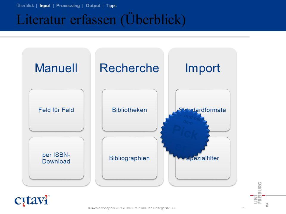 Überblick | Input | Processing | Output | Tipps IGA-Workshop am 26.3.2010 / Drs. Sühl und Reifegerste / UB9 Literatur erfassen (Überblick) 9 Manuell F