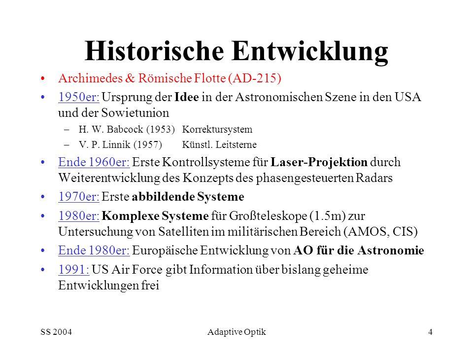 SS 2004Adaptive Optik4 Historische Entwicklung Archimedes & Römische Flotte (AD-215) 1950er: Ursprung der Idee in der Astronomischen Szene in den USA und der Sowietunion –H.