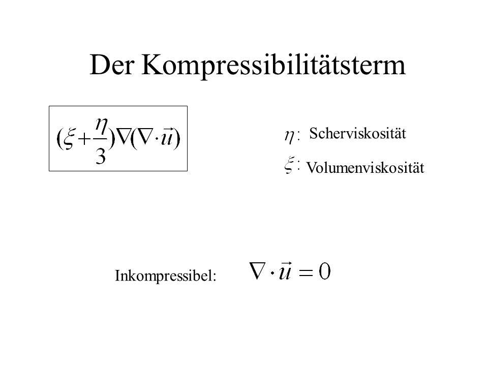 Der Kompressibilitätsterm Inkompressibel: Scherviskosität Volumenviskosität