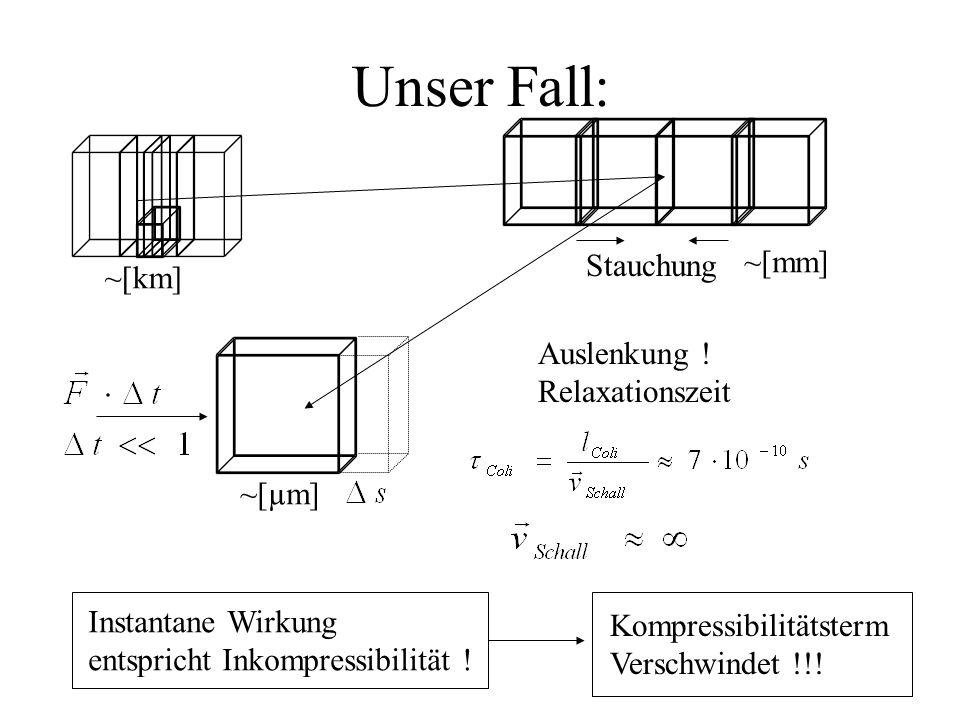 Unser Fall: ~[km] Stauchung ~[mm] Instantane Wirkung entspricht Inkompressibilität .