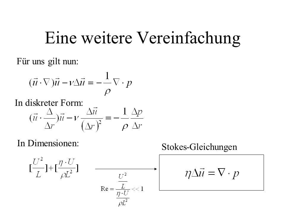 Eine weitere Vereinfachung Für uns gilt nun: In diskreter Form: In Dimensionen: Stokes-Gleichungen