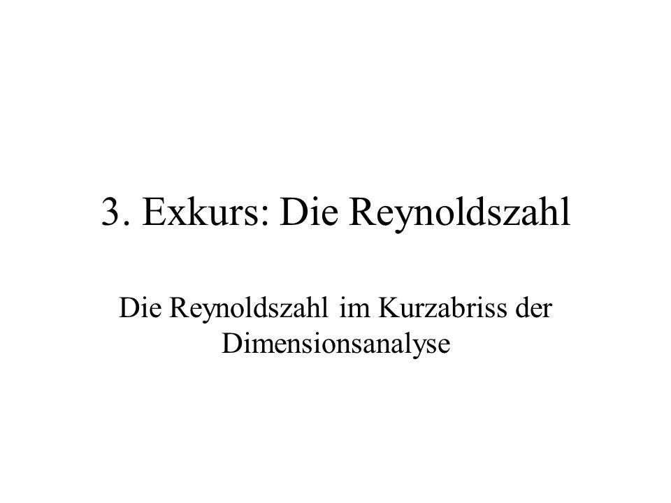 3. Exkurs: Die Reynoldszahl Die Reynoldszahl im Kurzabriss der Dimensionsanalyse