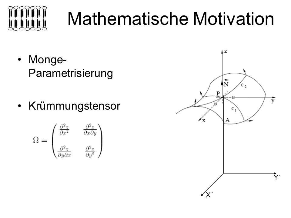 Mathematische Motivation Monge- Parametrisierung Krümmungstensor X´ Y´