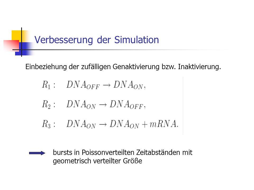 Verbesserung der Simulation Einbeziehung der zufälligen Genaktivierung bzw. Inaktivierung. bursts in Poissonverteilten Zeitabständen mit geometrisch v