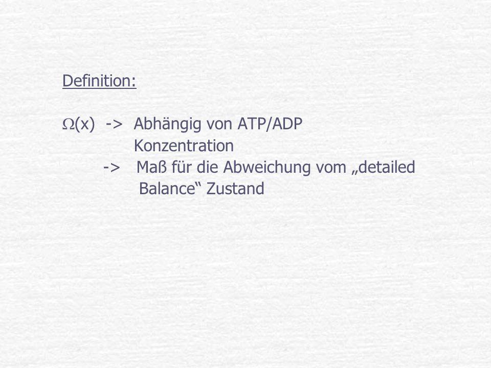 Definition: (x) -> Abhängig von ATP/ADP Konzentration -> Maß für die Abweichung vom detailed Balance Zustand