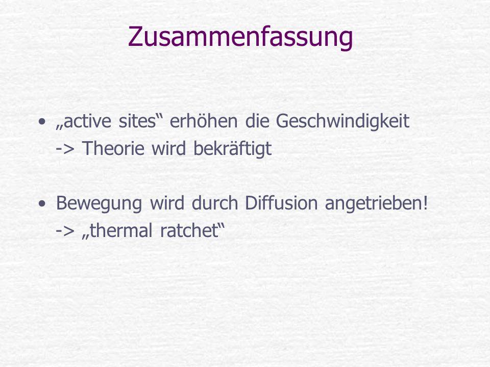 Zusammenfassung active sites erhöhen die Geschwindigkeit -> Theorie wird bekräftigt Bewegung wird durch Diffusion angetrieben! -> thermal ratchet