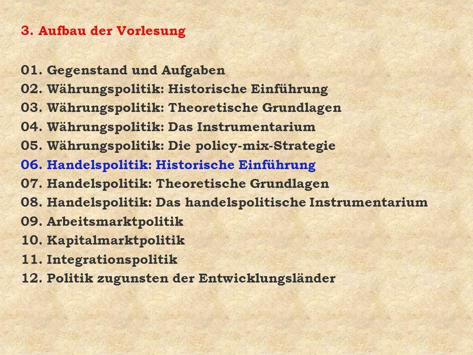 3.Aufbau der Vorlesung 01. Gegenstand und Aufgaben 02.