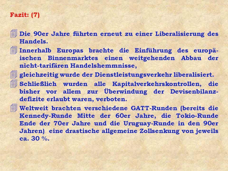 Fazit: (7) 4 Die 90er Jahre führten erneut zu einer Liberalisierung des Handels.
