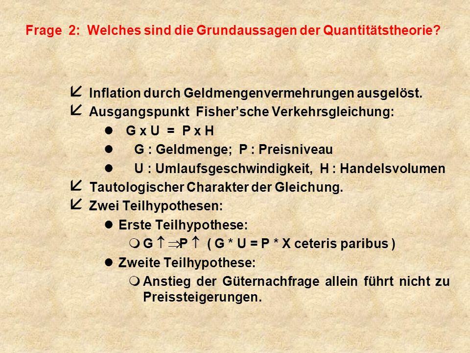 Fishersche Verkehrsgleichung G x U = P x H l G : Geldmenge l P : Preisniveau l U : Umlaufsgeschwindigkeit l H : Handelsvolumen