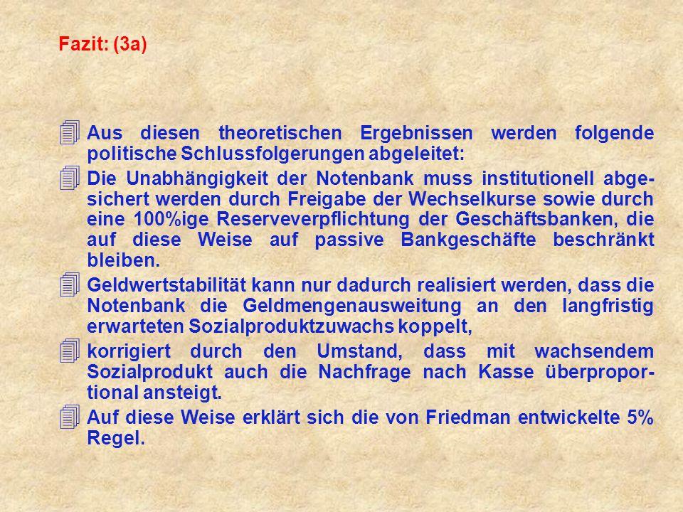 Fazit: (3b) 4 Die Notenbank soll sich jedem Versuch, die Konjunkturlage kurzfristig durch antizyklische Politik zu beeinflussen, ent- halten, da aufgrund langer Verzögerungsperioden keine effiziente Konjunkturbeeinflussung möglich ist.