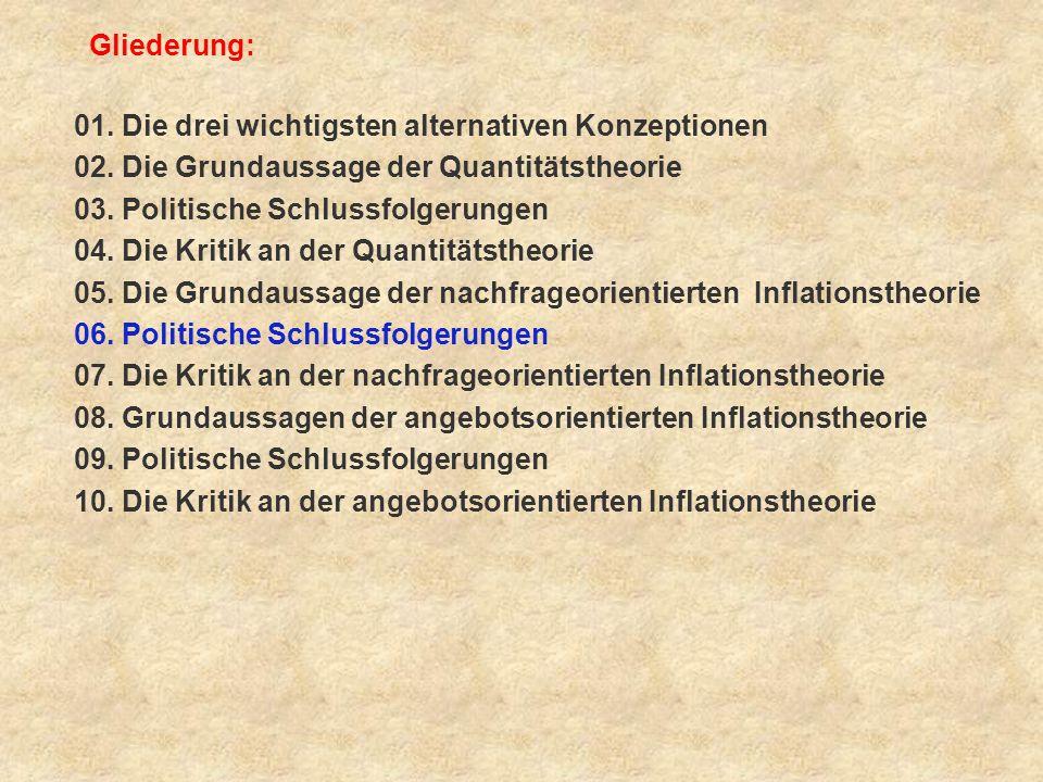 Frage 6: Welche politischen Schlussfolgerungen wurden aus der nachfrageorientierten Inflationstheorie gezogen .