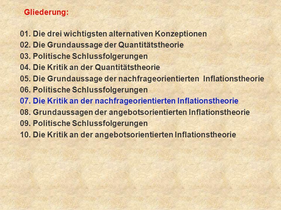 Frage 7: Welche Kritik wurde an der nachfrageorientierten Inflationstheorie geübt .