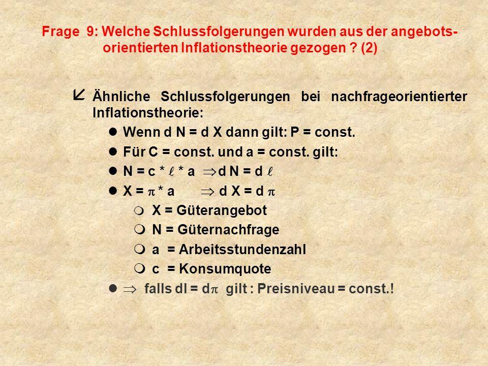 Schlussfolgerungen bei nachfrageorientierter Inflationstheorie Wenn d N = d X dann gilt: P = const.