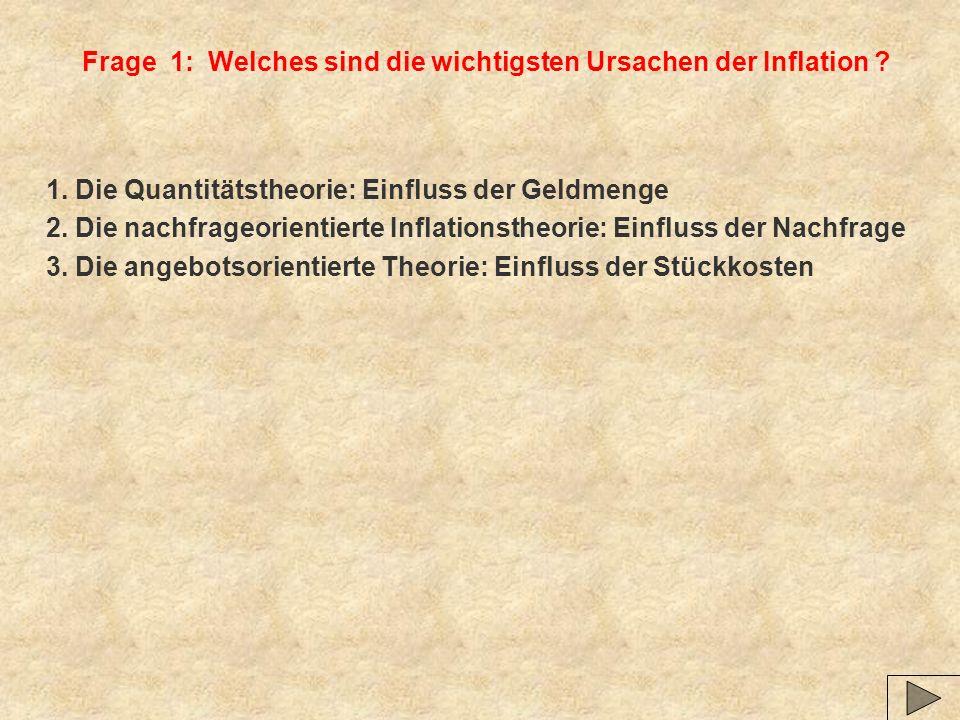 Frage 1: Welches sind die wichtigsten Ursachen der Inflation .