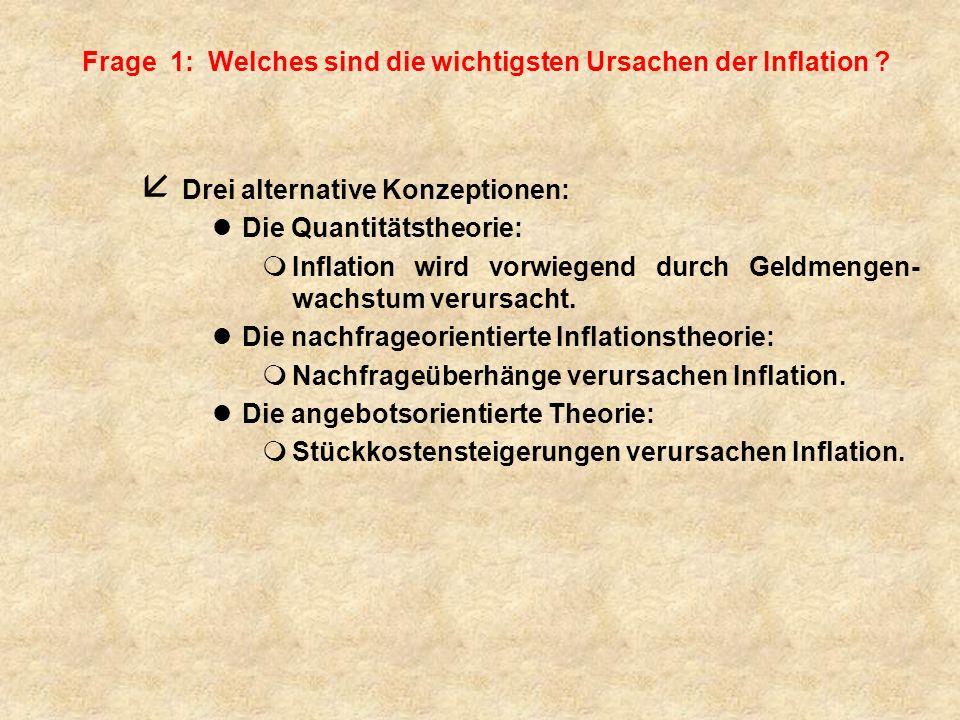 Fazit: (1) 4 Inflation wird von der Quanitätstheorie vorwiegend mit Geldmengenveränderungen, 4 von der keynesianischen Theorie mit Nachfrageüberhängen, 4 von der angebotsorientierten Inflationstheorie mit Kosten- steigerungen erklärt.