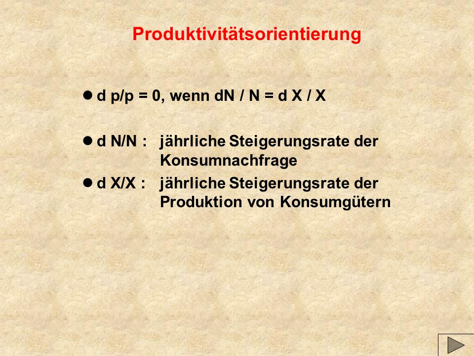 Produktivitätsorientierung ld p/p = 0, wenn dN / N = d X / X ld N/N :jährliche Steigerungsrate der Konsumnachfrage ld X/X :jährliche Steigerungsrate der Produktion von Konsumgütern