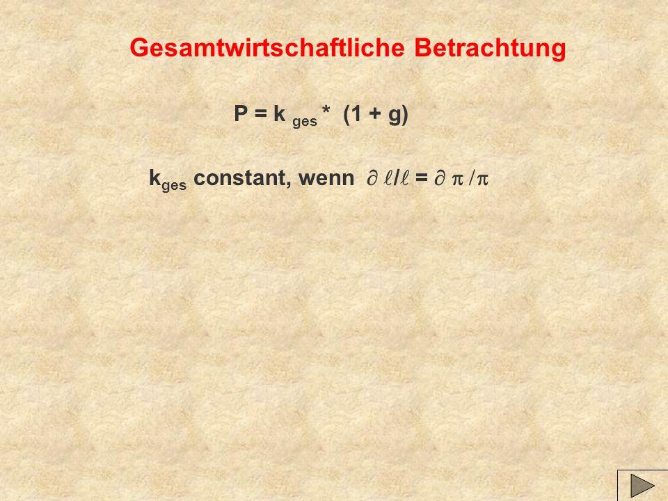 Gesamtwirtschaftliche Betrachtung P = k ges * (1 + g) k ges constant, wenn / =
