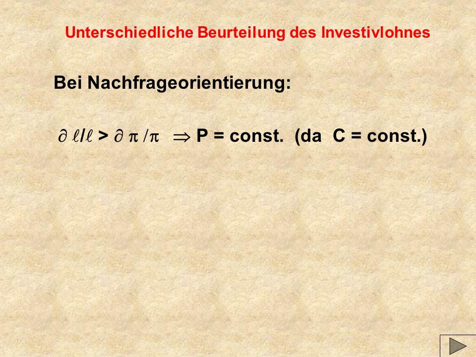 Unterschiedliche Beurteilung des Investivlohnes Bei Nachfrageorientierung: / > P = const.