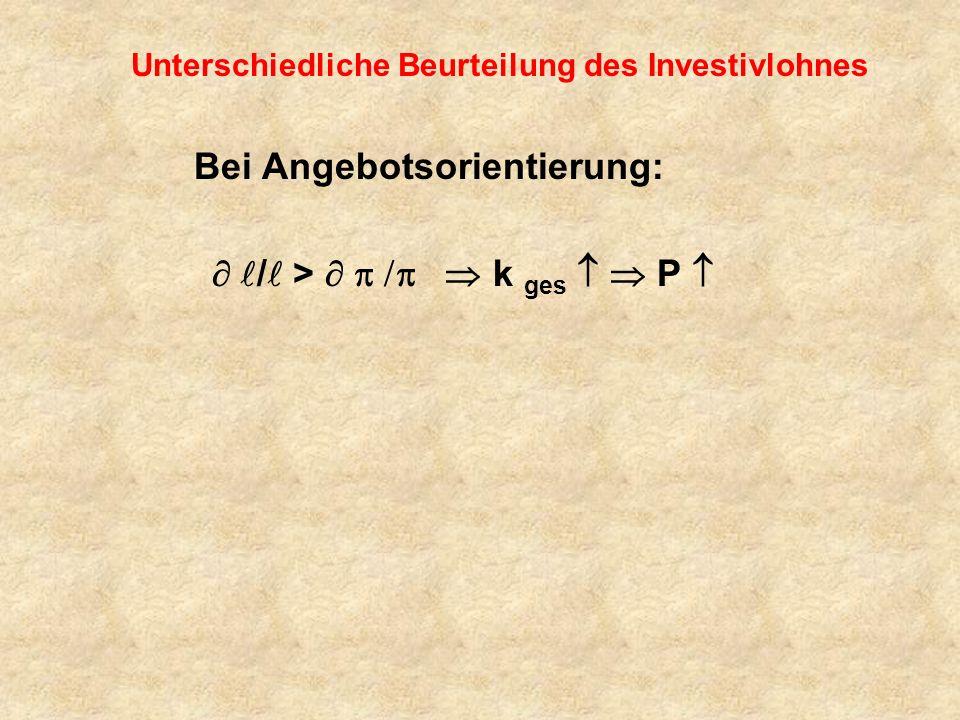 Unterschiedliche Beurteilung des Investivlohnes Bei Angebotsorientierung: / > k ges P