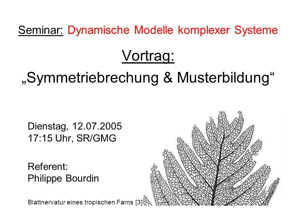Seminar: Dynamische Modelle komplexer Systeme Vortrag: Symmetriebrechung & Musterbildung Dienstag, 12.07.2005 17:15 Uhr, SR/GMG Referent: Philippe Bou