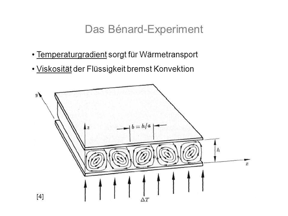 Das Bénard-Experiment Temperaturgradient sorgt für Wärmetransport Viskosität der Flüssigkeit bremst Konvektion [4]