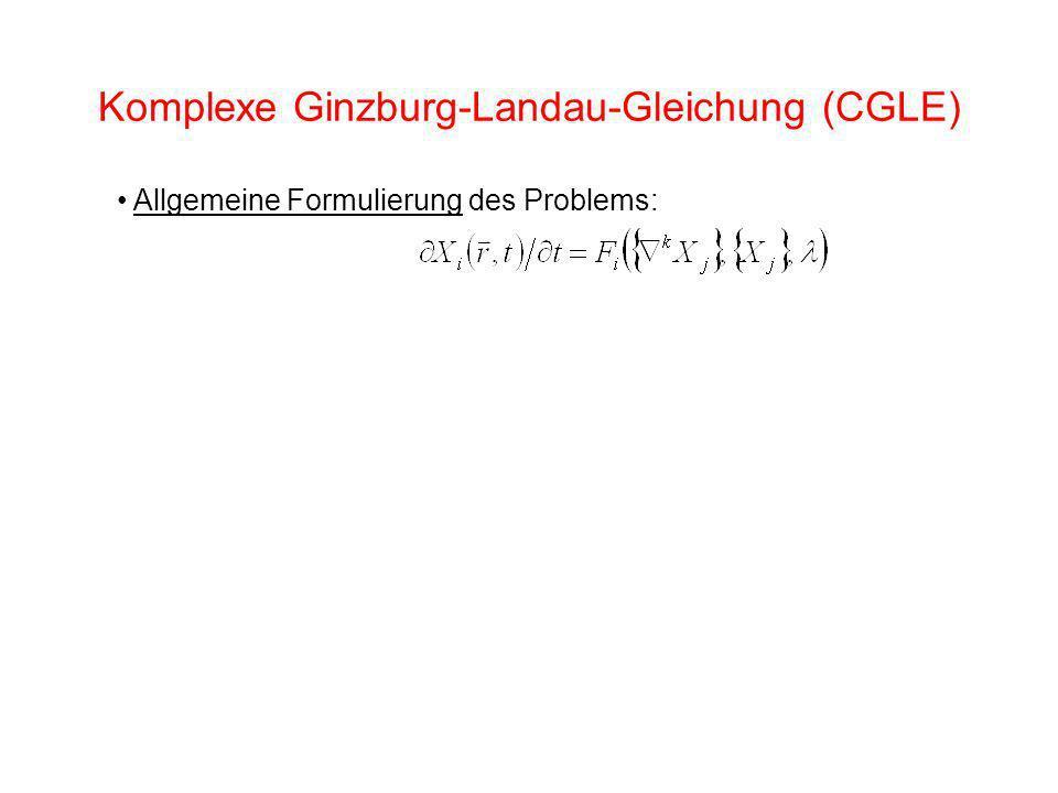 Komplexe Ginzburg-Landau-Gleichung (CGLE) Allgemeine Formulierung des Problems: