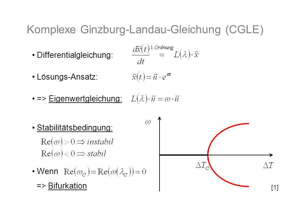 Komplexe Ginzburg-Landau-Gleichung (CGLE) Differentialgleichung: Lösungs-Ansatz: => Eigenwertgleichung: Stabilitätsbedingung: Wenn => Bifurkation [1]