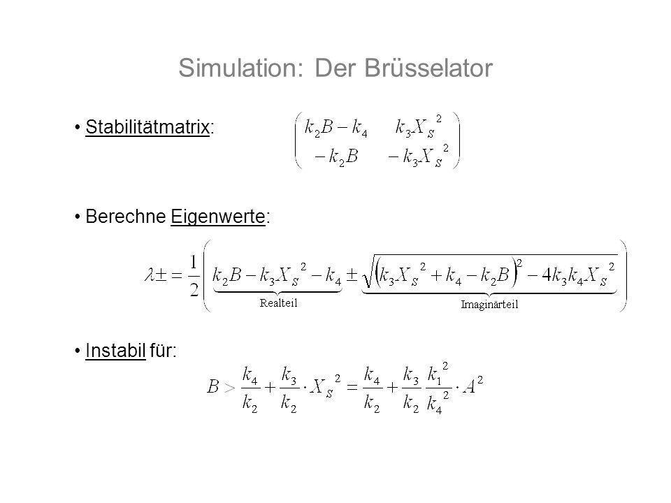 Simulation: Der Brüsselator Stabilitätmatrix: Berechne Eigenwerte: Instabil für: