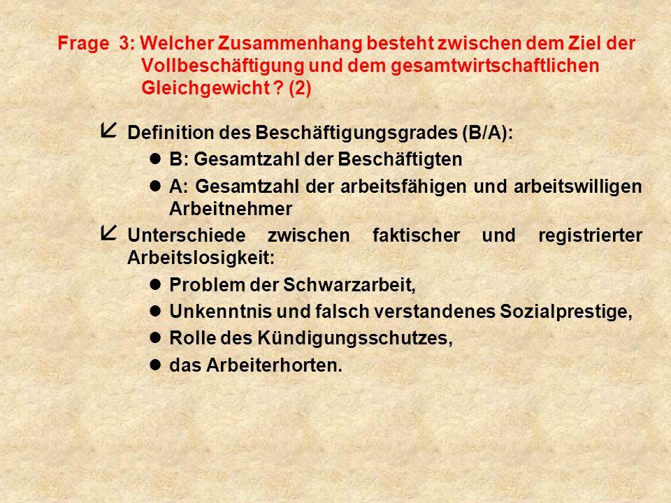 Frage 3: Welcher Zusammenhang besteht zwischen dem Ziel der Vollbeschäftigung und dem gesamtwirtschaftlichen Gleichgewicht .