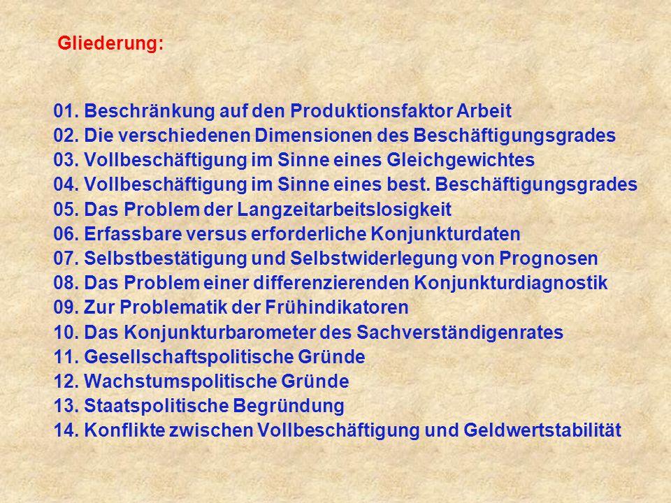 Gliederung: 01.Beschränkung auf den Produktionsfaktor Arbeit 02.