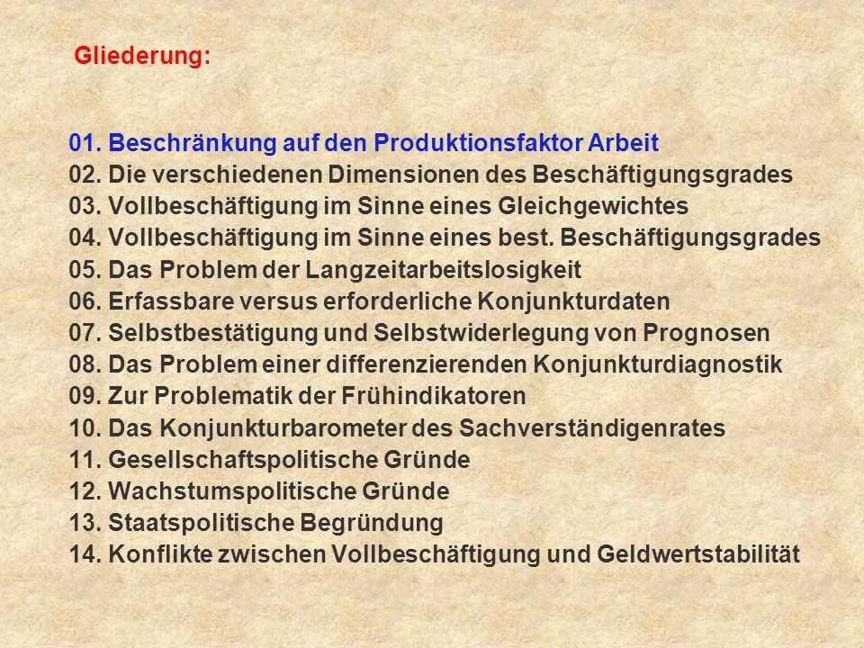 Fazit: (11) 4 Das Vollbeschäftigungsziel wird in erster Linie um seiner selbst willen angestrebt.