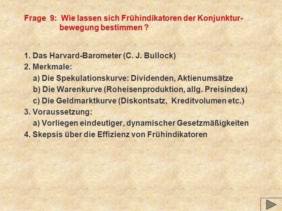 Frage 9: Wie lassen sich Frühindikatoren der Konjunktur- bewegung bestimmen .