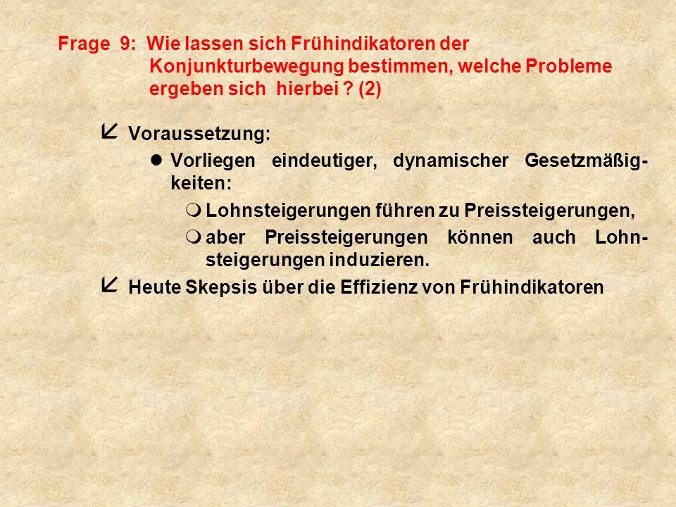 Frage 9: Wie lassen sich Frühindikatoren der Konjunkturbewegung bestimmen, welche Probleme ergeben sich hierbei .