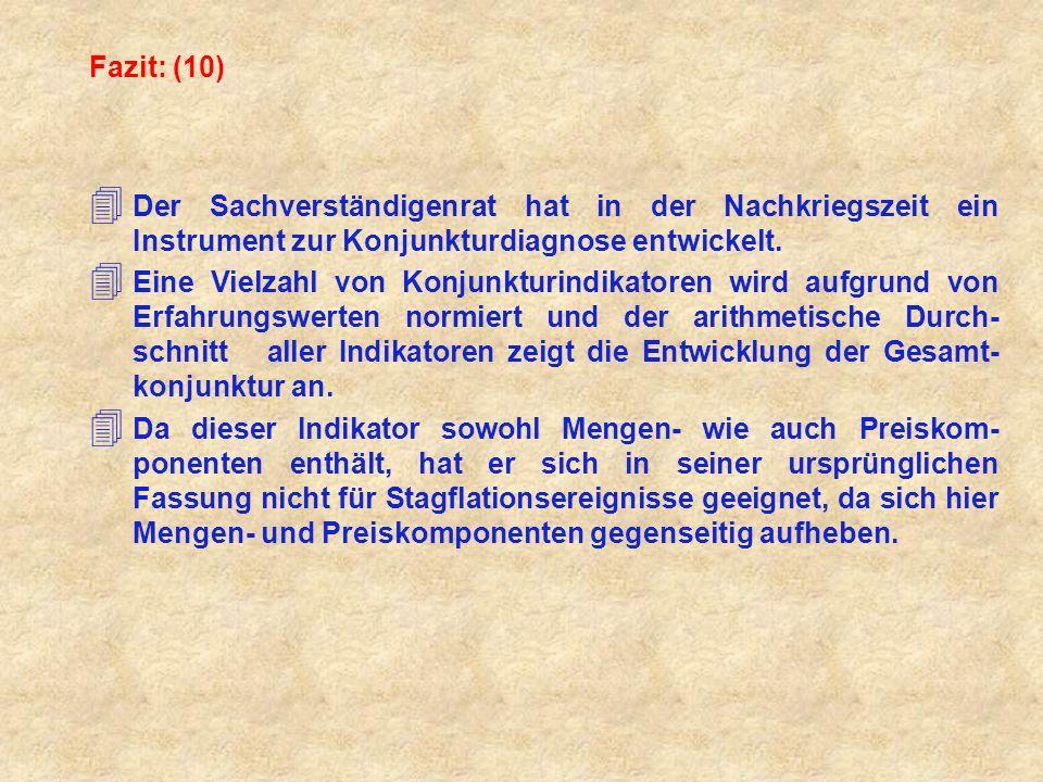 Fazit: (10) 4 Der Sachverständigenrat hat in der Nachkriegszeit ein Instrument zur Konjunkturdiagnose entwickelt.