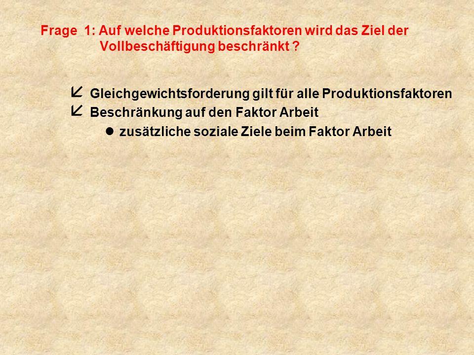 Frage 1: Auf welche Produktionsfaktoren wird das Ziel der Vollbeschäftigung beschränkt .