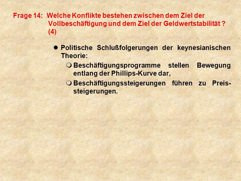 Frage 14: Welche Konflikte bestehen zwischen dem Ziel der Vollbeschäftigung und dem Ziel der Geldwertstabilität .