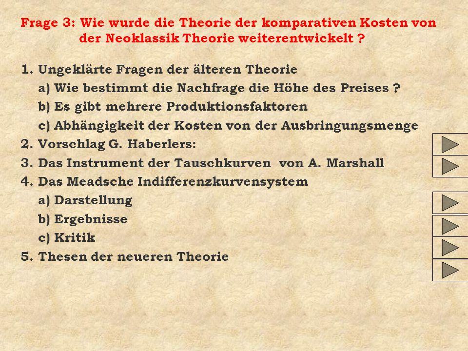 Frage 3: Wie wurde die Theorie der komparativen Kosten von der Neoklassik Theorie weiterentwickelt ? 1. Ungeklärte Fragen der älteren Theorie a) Wie b