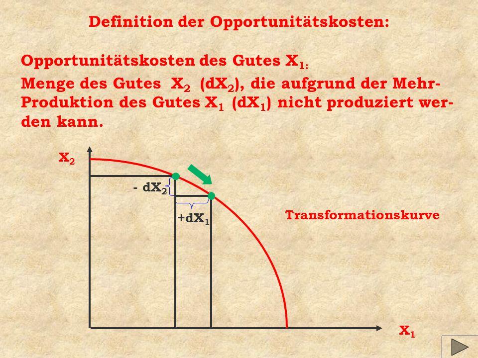 Definition der Opportunitätskosten: Opportunitätskosten des Gutes X 1: Menge des Gutes X 2 (dX 2 ), die aufgrund der Mehr- Produktion des Gutes X 1 (d