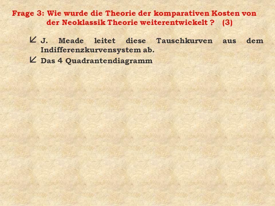 Frage 3: Wie wurde die Theorie der komparativen Kosten von der Neoklassik Theorie weiterentwickelt ? (3) å J. Meade leitet diese Tauschkurven aus dem