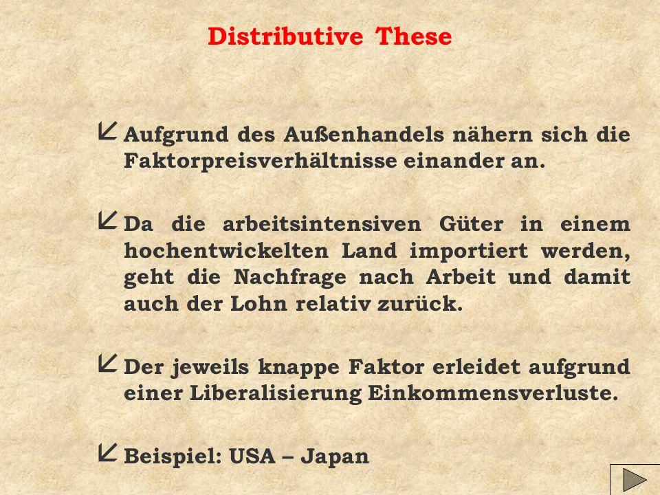 Distributive These å Aufgrund des Außenhandels nähern sich die Faktorpreisverhältnisse einander an. å Da die arbeitsintensiven Güter in einem hochentw