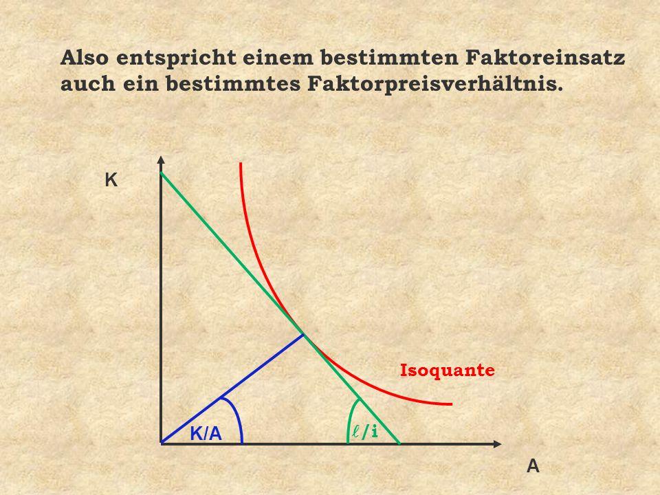 K A /i K/A Also entspricht einem bestimmten Faktoreinsatz auch ein bestimmtes Faktorpreisverhältnis. Isoquante